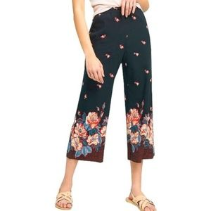 Anthro ett:twa Cropped Floral Wide Leg Pant